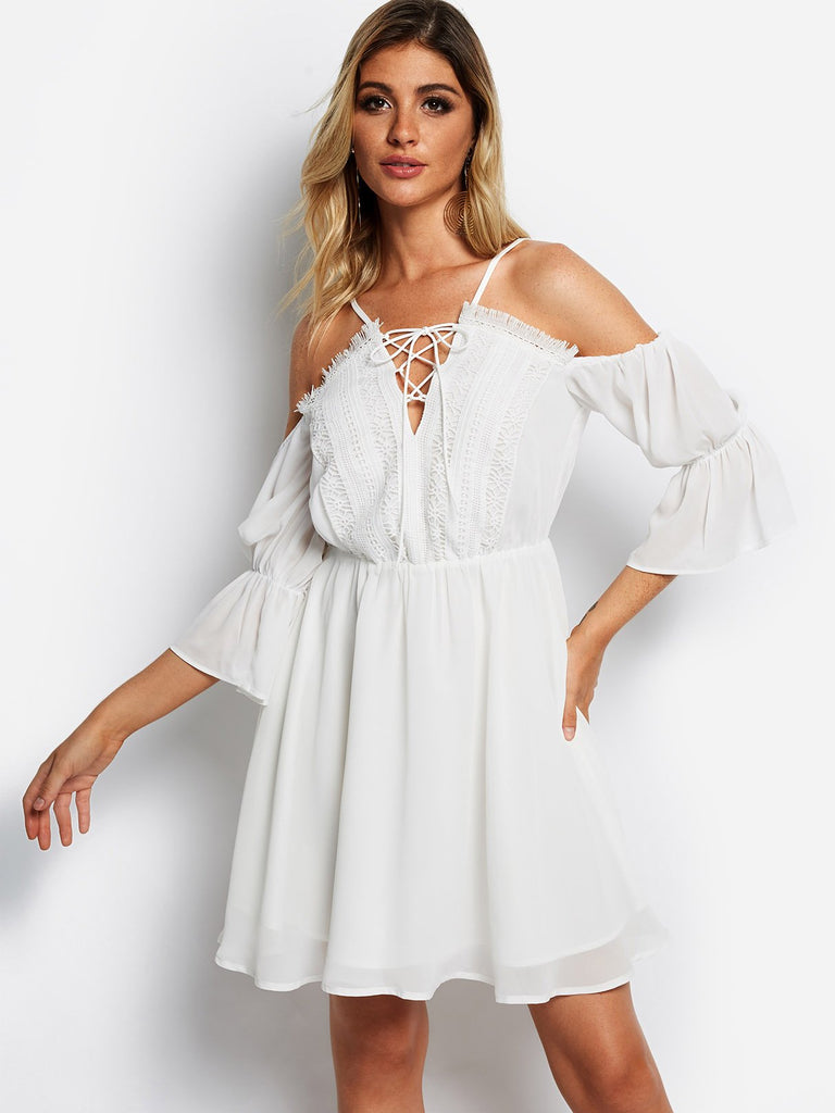 White V-Neck Cold Shoulder 3/4 Length Sleeve Lace Lace-Up Partially Lined Mini Dress