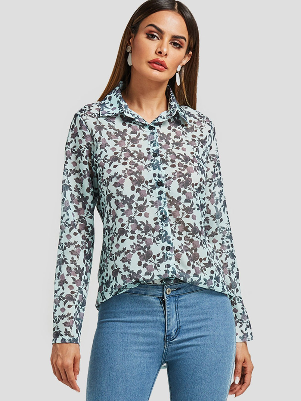 Random Floral Print See-Through Long Sleeve Blouses