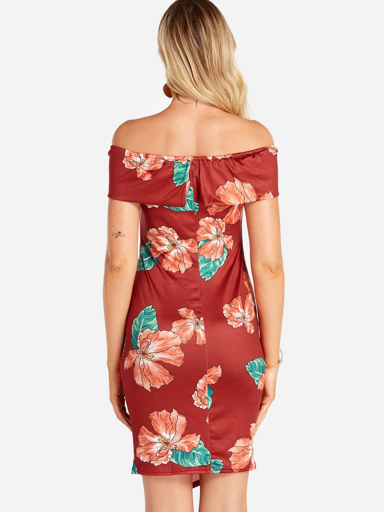 Womens Red Floral Dresses