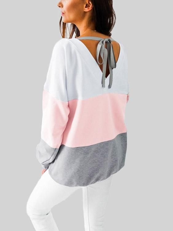 Crew Neck Stripe Lace-Up Long Sleeve T-Shirts