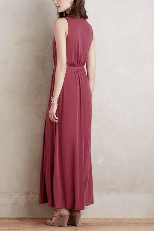 Womens Wine Red Maxi Dresses