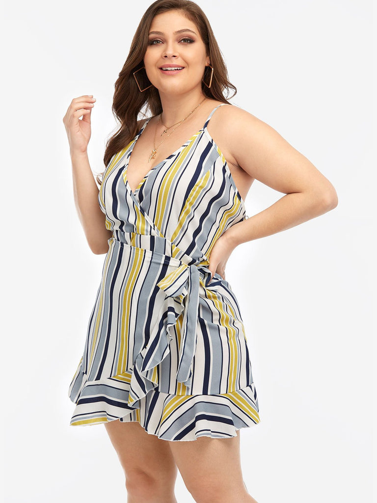 V-Neck Stripe Self-Tie Sleeveless Flounced Hem Plus Size Mini Dresses