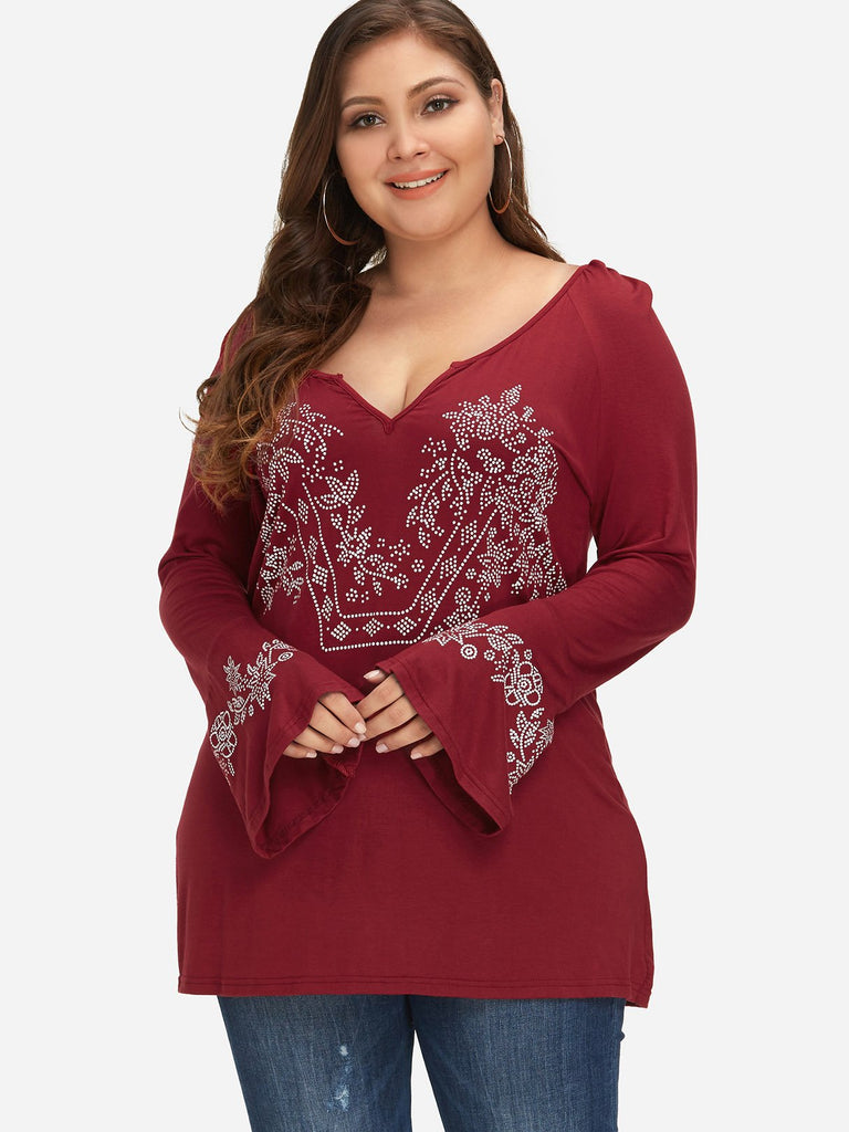 V-Neck Tribal Print Long Sleeve Red Plus Size Tops