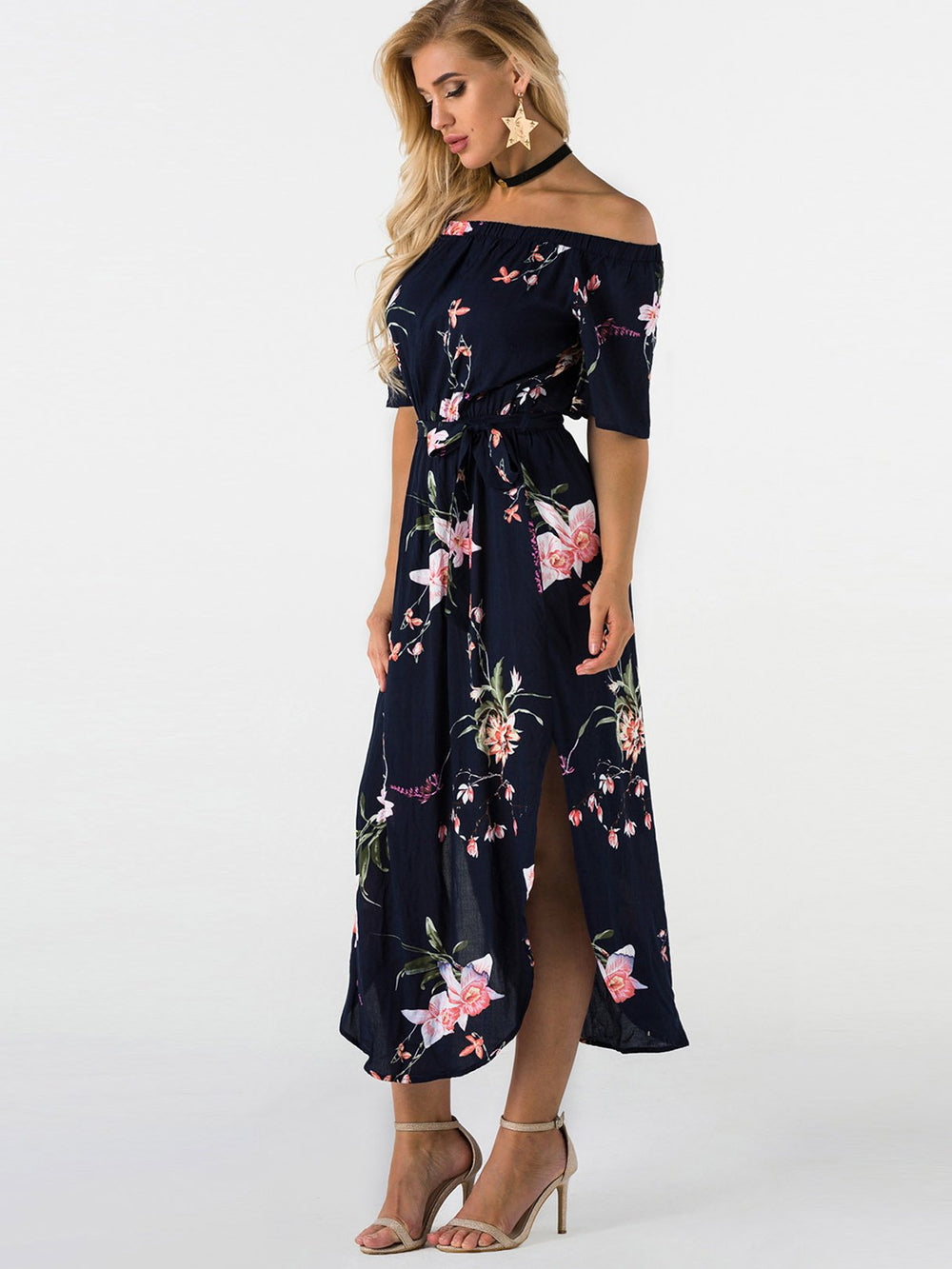 Ladies Navy Floral Dresses