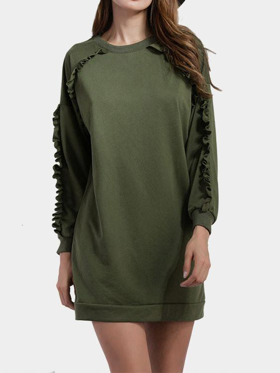 Round Neck Grid Camouflage Long Sleeve Army Green Sweatshirts