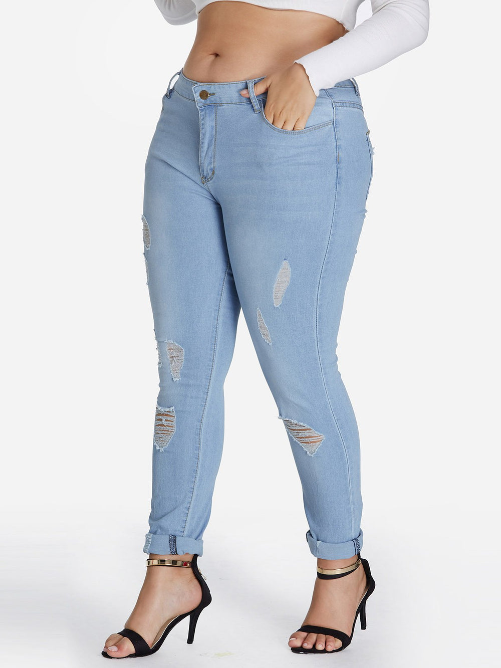 Ladies Sky Blue Plus Size Bottoms