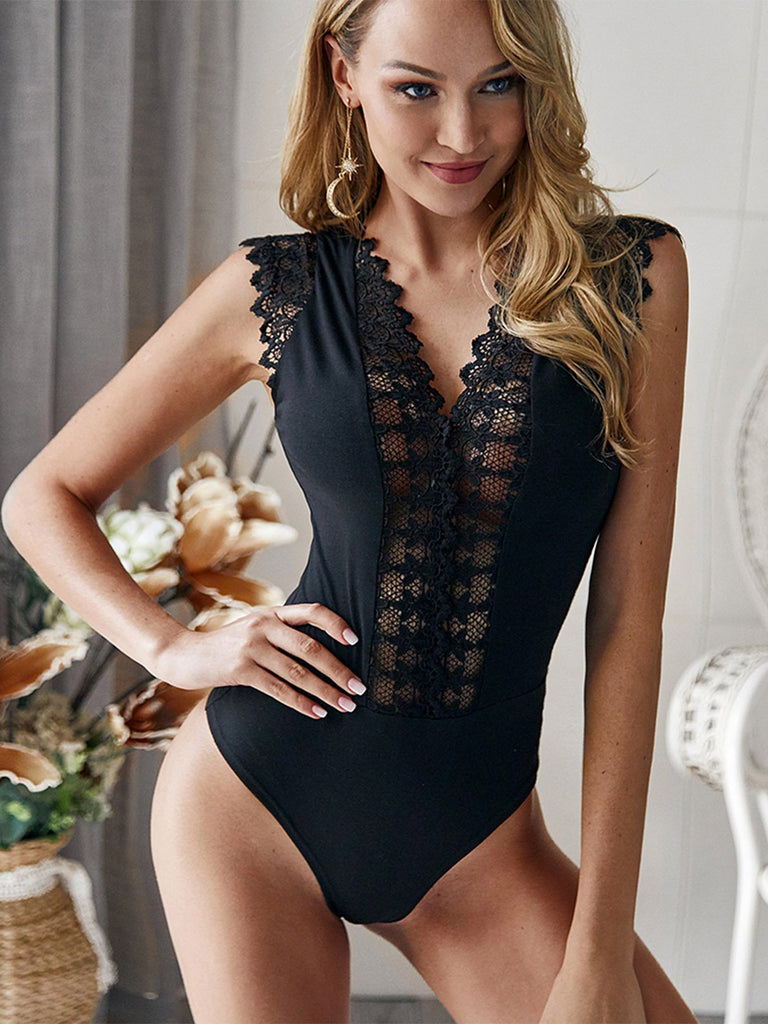 V-Neck Lace Insert Sleeveless Bodysuits