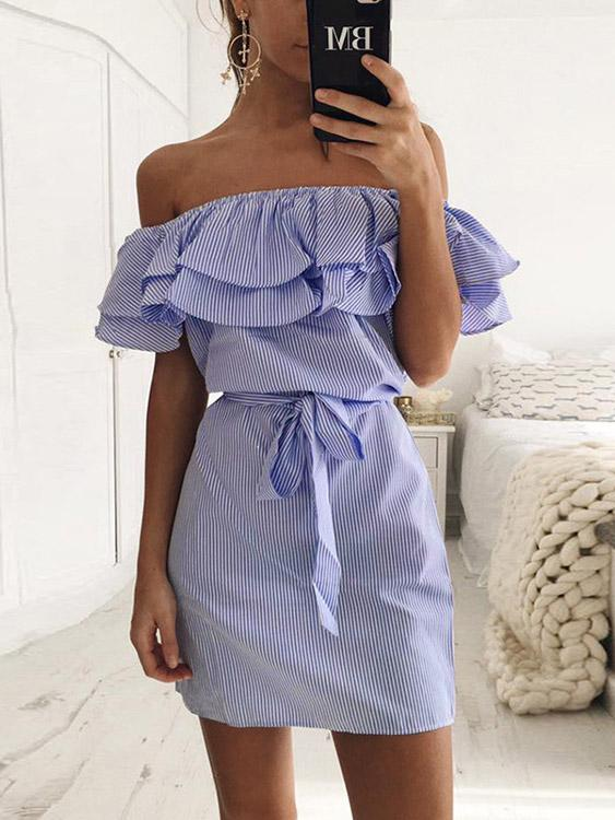Ladies Blue Off The Shoulder Dresses