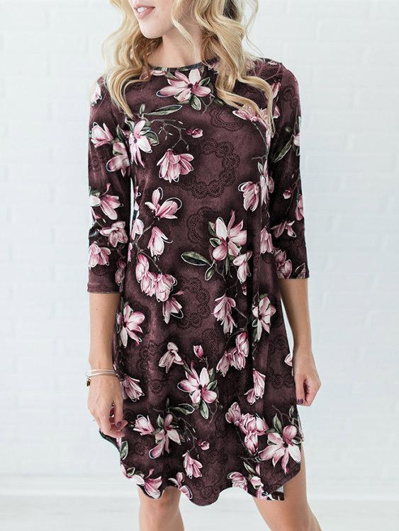 Ladies Coffee Floral Dresses