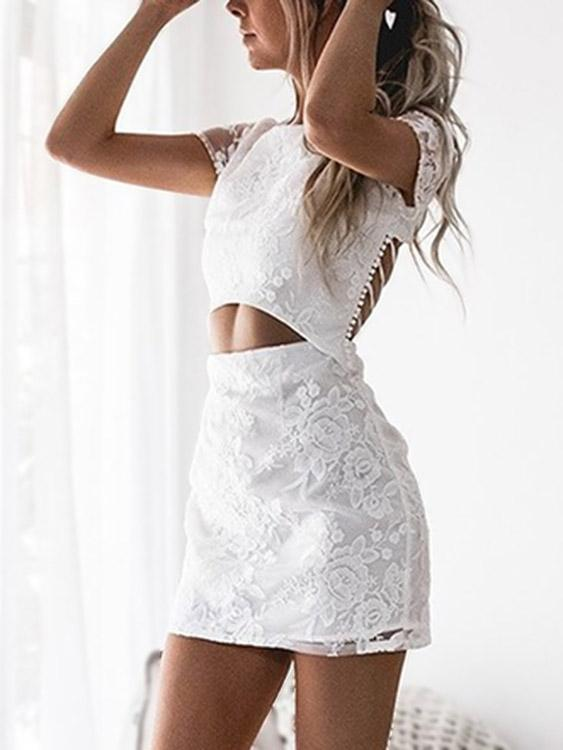 White Round Neck Short Sleeve Zip Back Backless Lace-Up Cut Out Criss-Cross Mini Dress