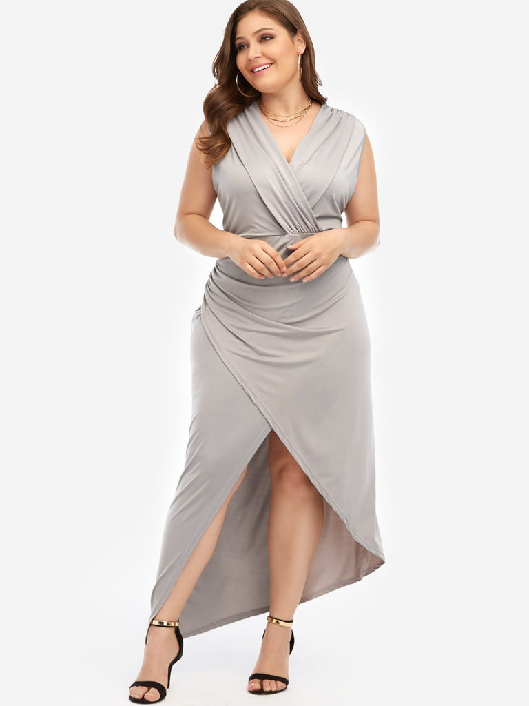 V-Neck Plain Sleeveless Grey Plus Size Maxi Dresses