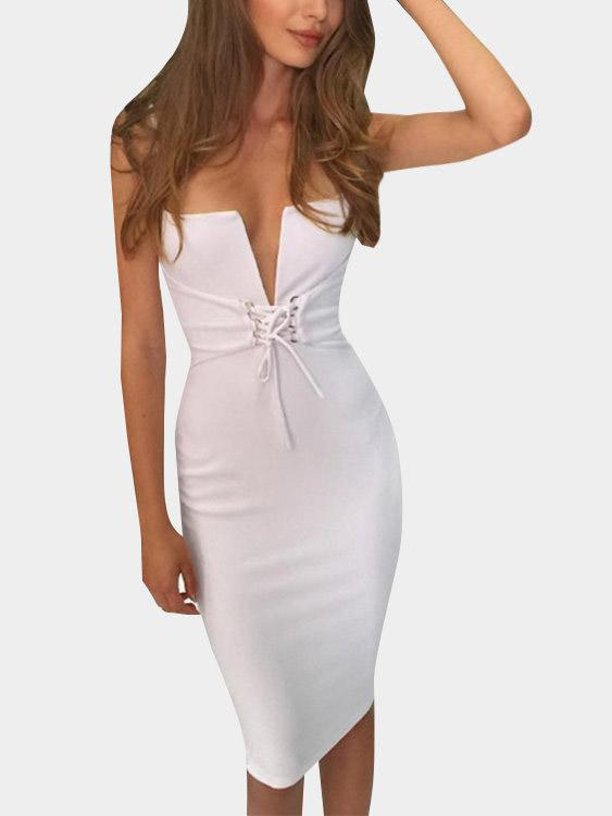 White Deep V-Neck Sleeveless Backless Lace-Up Slit Hem Dresses