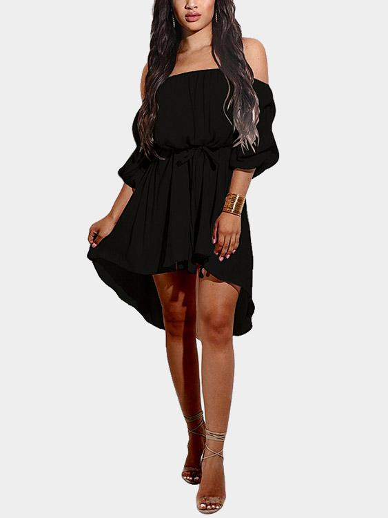 Black Off The Shoulder Half Sleeve Curved Hem Dresses