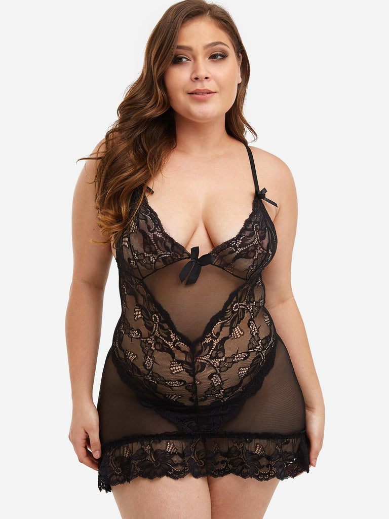 Lace See Through Black Plus Size Intimates