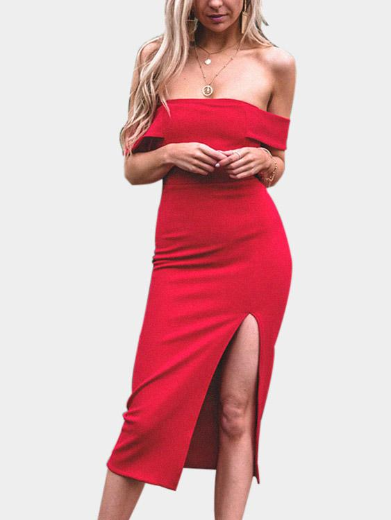 Red Off The Shoulder Slit Hem Dresses