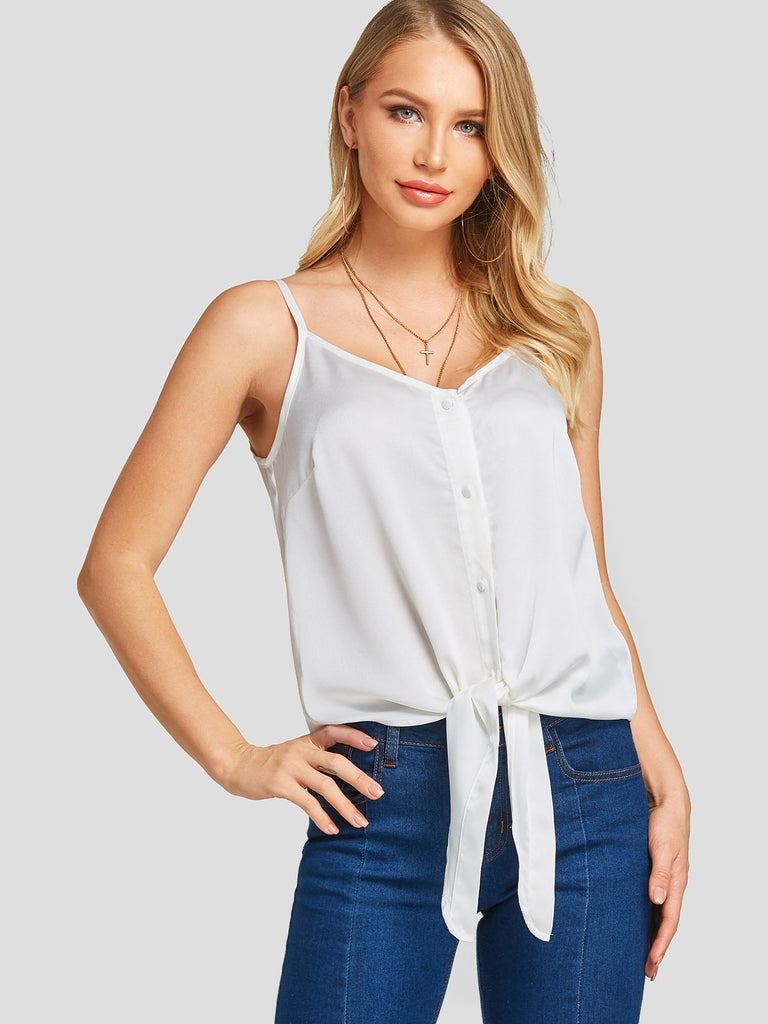 V-Neck Spaghetti Strap Self-Tie Sleeveless White Tank Top