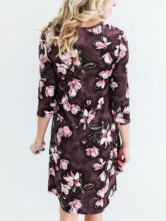 Womens Coffee Floral Dresses