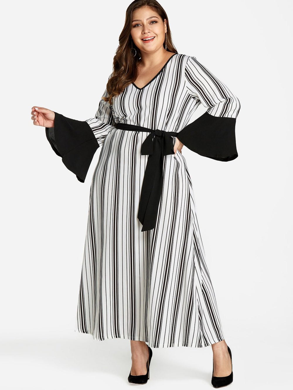 V-Neck Stripe Self-Tie Long Sleeve Plus Size Dress
