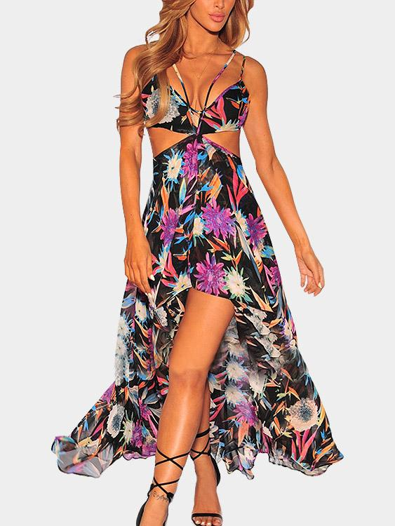 V-Neck Sleeveless Floral Print Backless Cut Out Maxi Dress