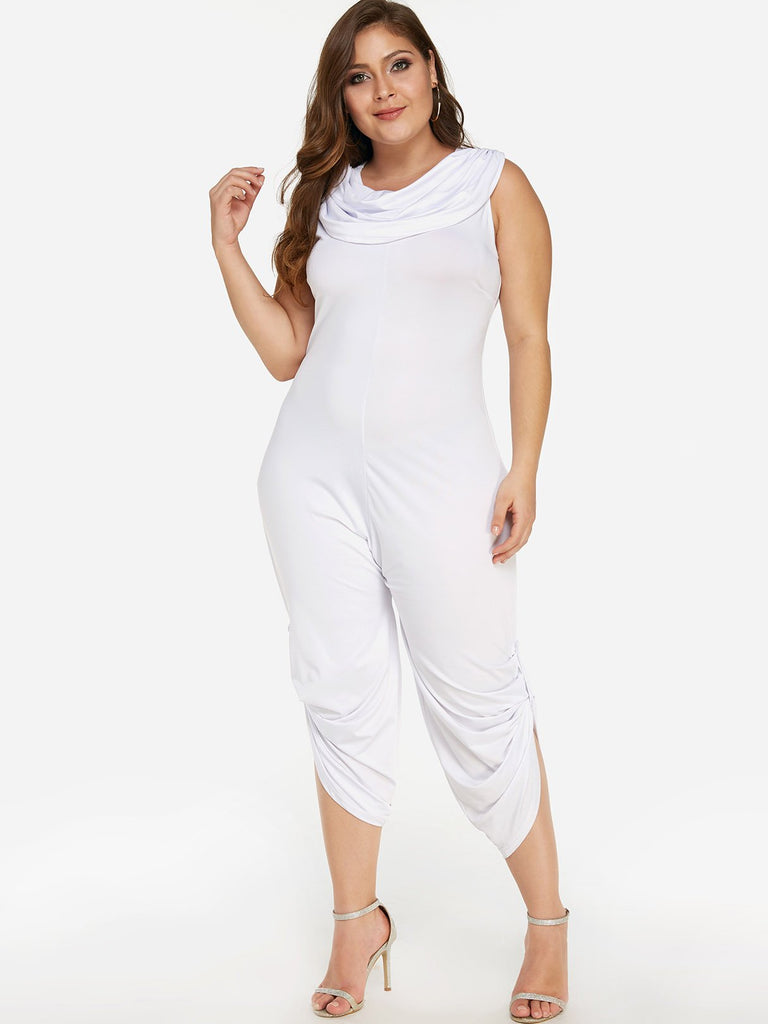 Drape Sagging Plain Pleated Sleeveless White Plus Size Bottoms