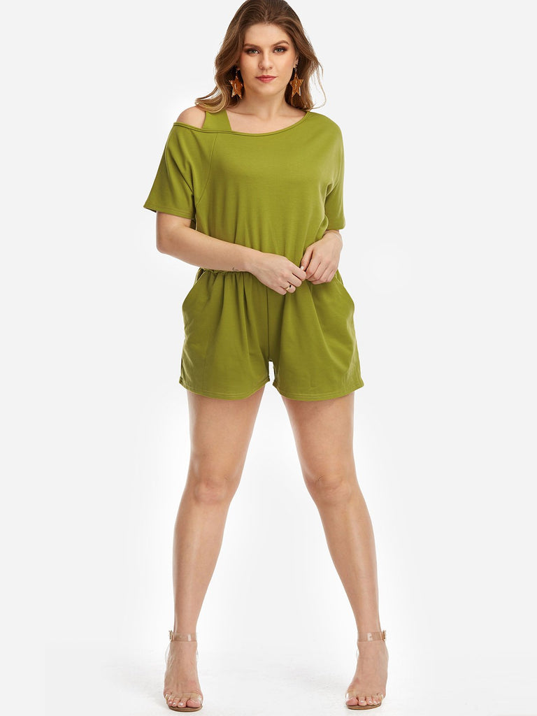 One Shoulder Plain Short Sleeve Green Plus Size Bottoms