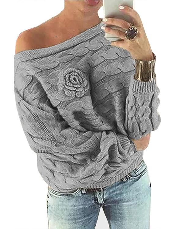 Light Grey Asymmetrical Off The Shoulder Long Sleeve Sweaters