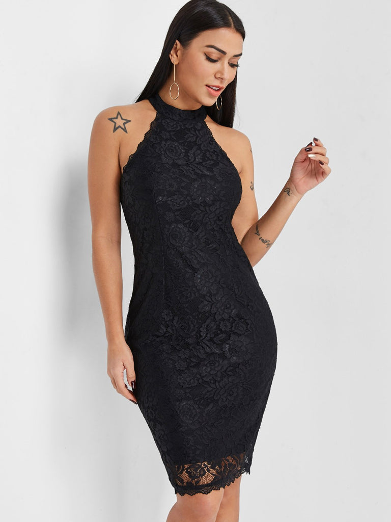 Halter Sleeveless Lace Zip Back Slit Dresses