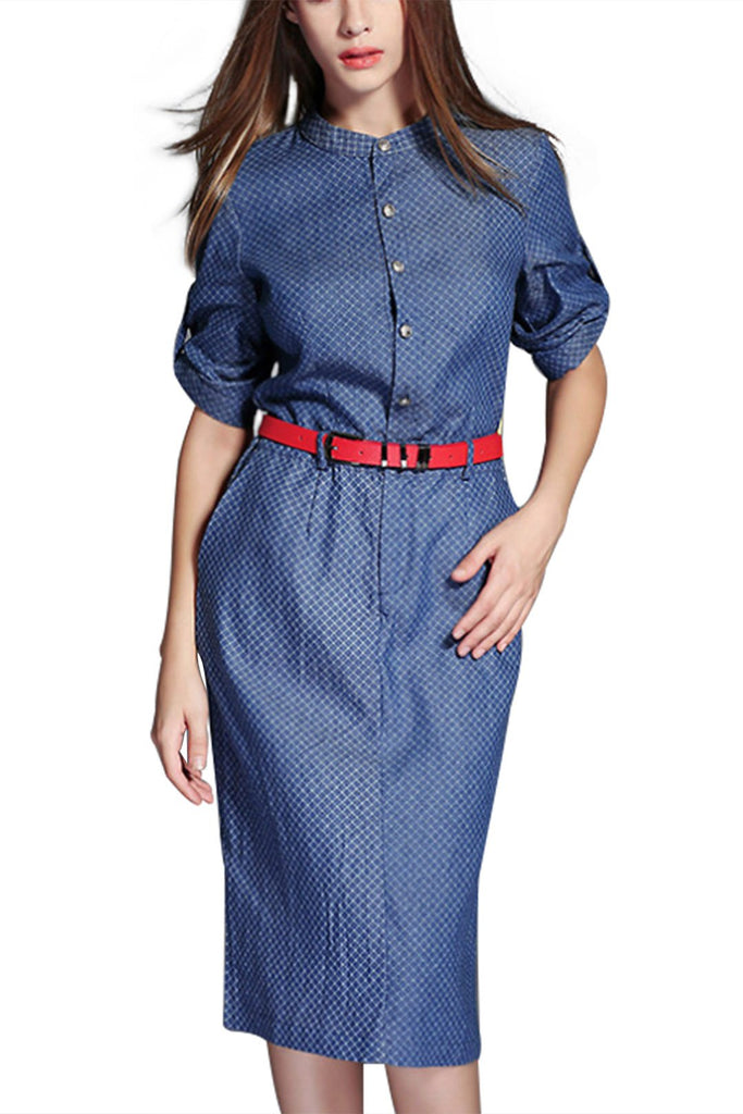 Blue General Collar 3/4 Sleeve Length Side Pockets Curved Hem Shirt Dresses