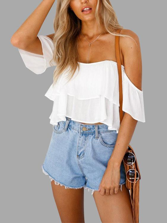 Off The Shoulder Tiered Backless Sleeveless White Crop Top