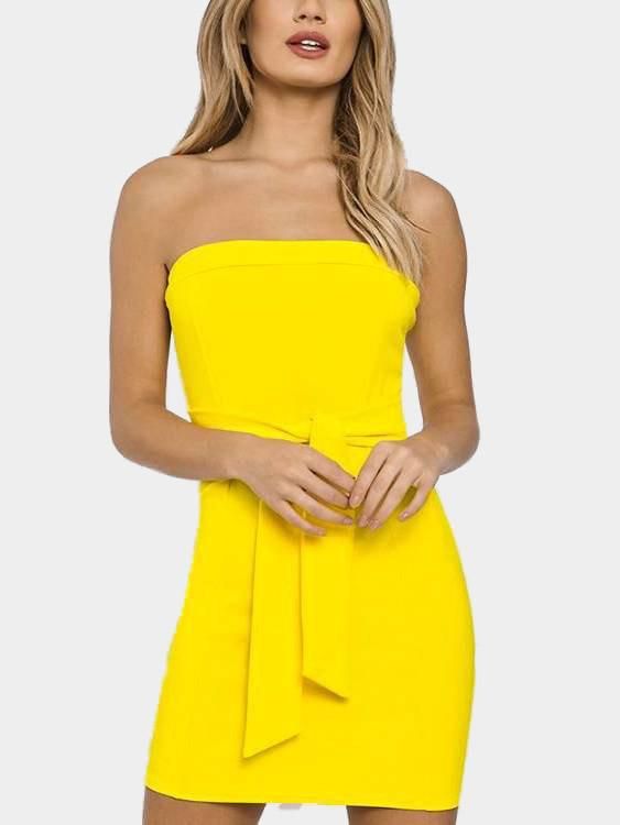 Yellow Strapless Off The Shoulder Sleeveless Plain Backless Lace-Up Mini Dress