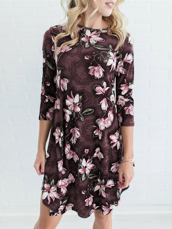 Round Neck Floral Print 3/4 Length Sleeve Curved Hem Coffee Dresses