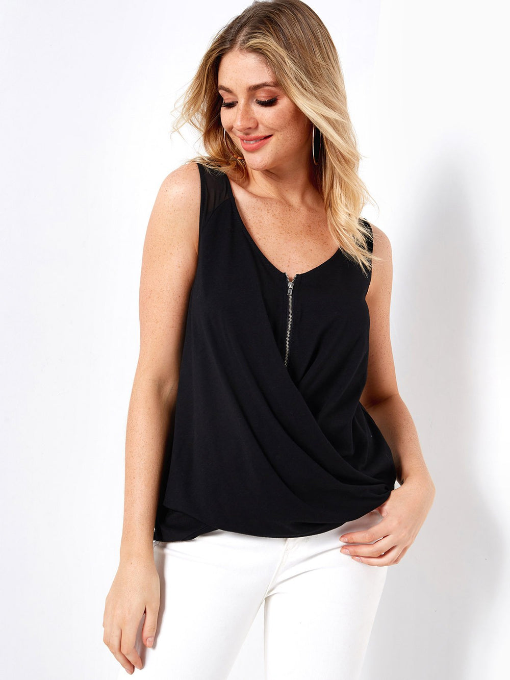 V-Neck Plain Sleeveless Black Tank Top