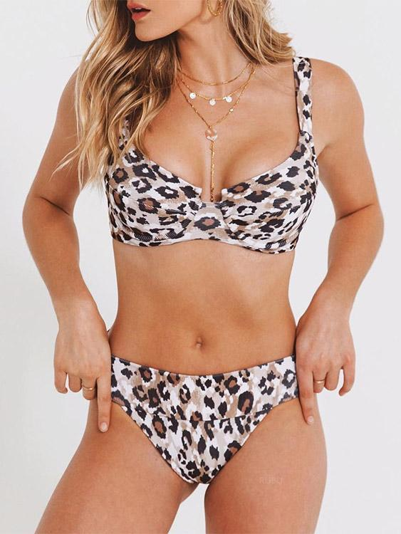 Halter Leopard Backless Tie-Up Sleeveless Bikinis