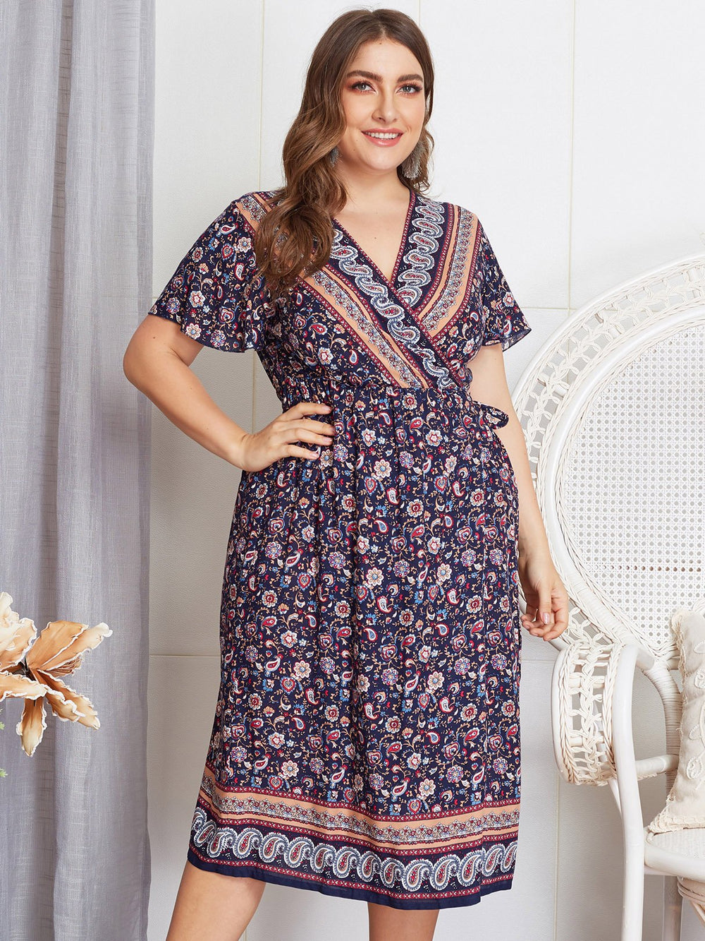 V-Neck Tribal Print Crossed Front Self-Tie Wrap Short Sleeve Plus Size Dress