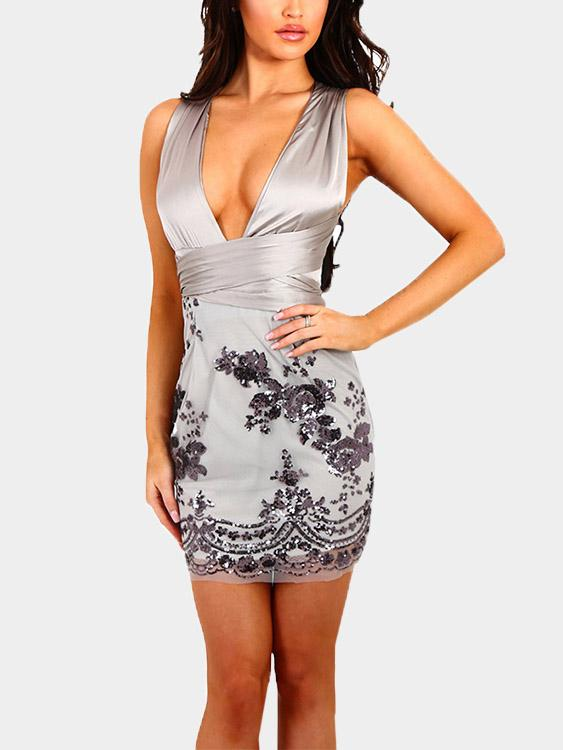 Deep V Neck Embroidered Zip Back Backless Lace-Up Sleeveless Grey Sexy Dresses