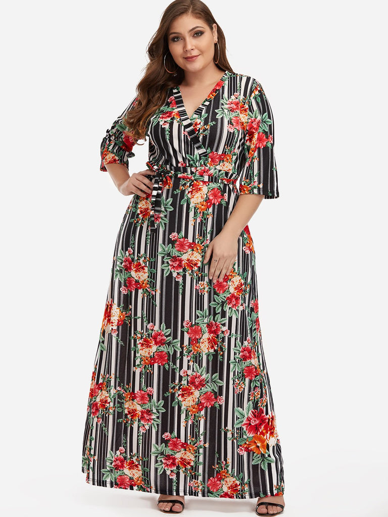V-Neck Self-Tie Wrap Half Sleeve Plus Size Dress