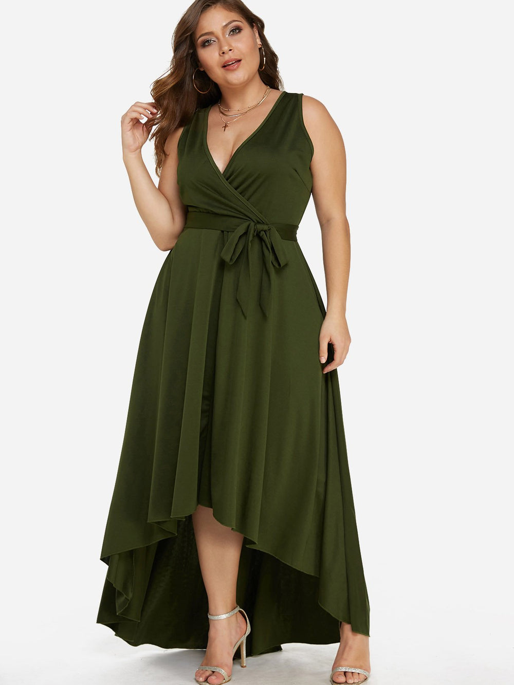 V-Neck Pleated Self-Tie Sleeveless High-Low Hem Army Green Plus Size Dresses