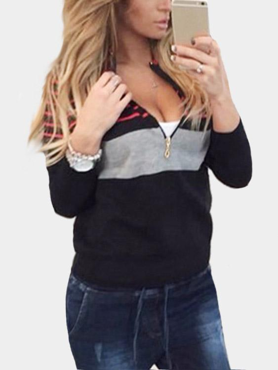 Fashion Knit Striped Long Sleeves Zip Up Sweatshirt