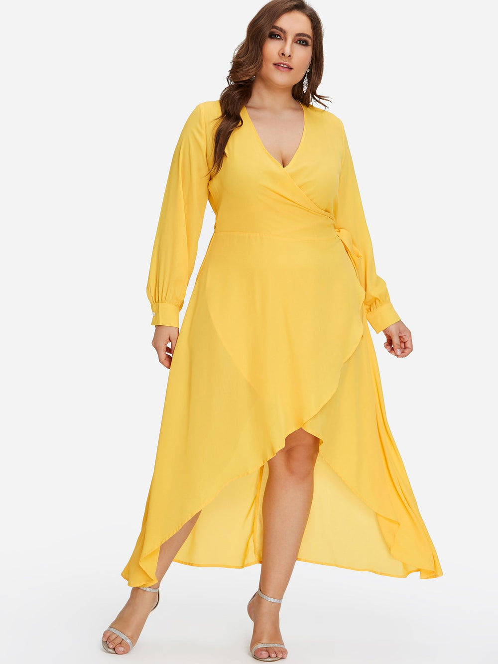 V-Neck Plain Self-Tie Wrap Long Sleeve Yellow Plus Size Dress