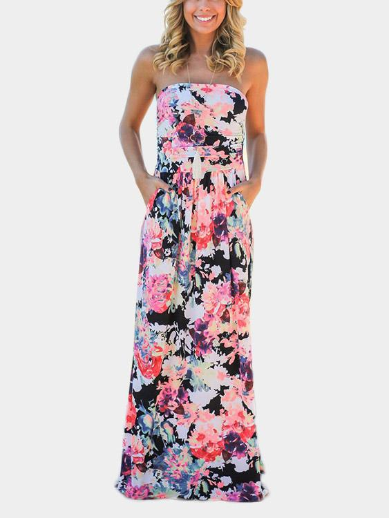 Off The Shoulder Sleeveless Floral Print Two Large Pockets Maxi Dress