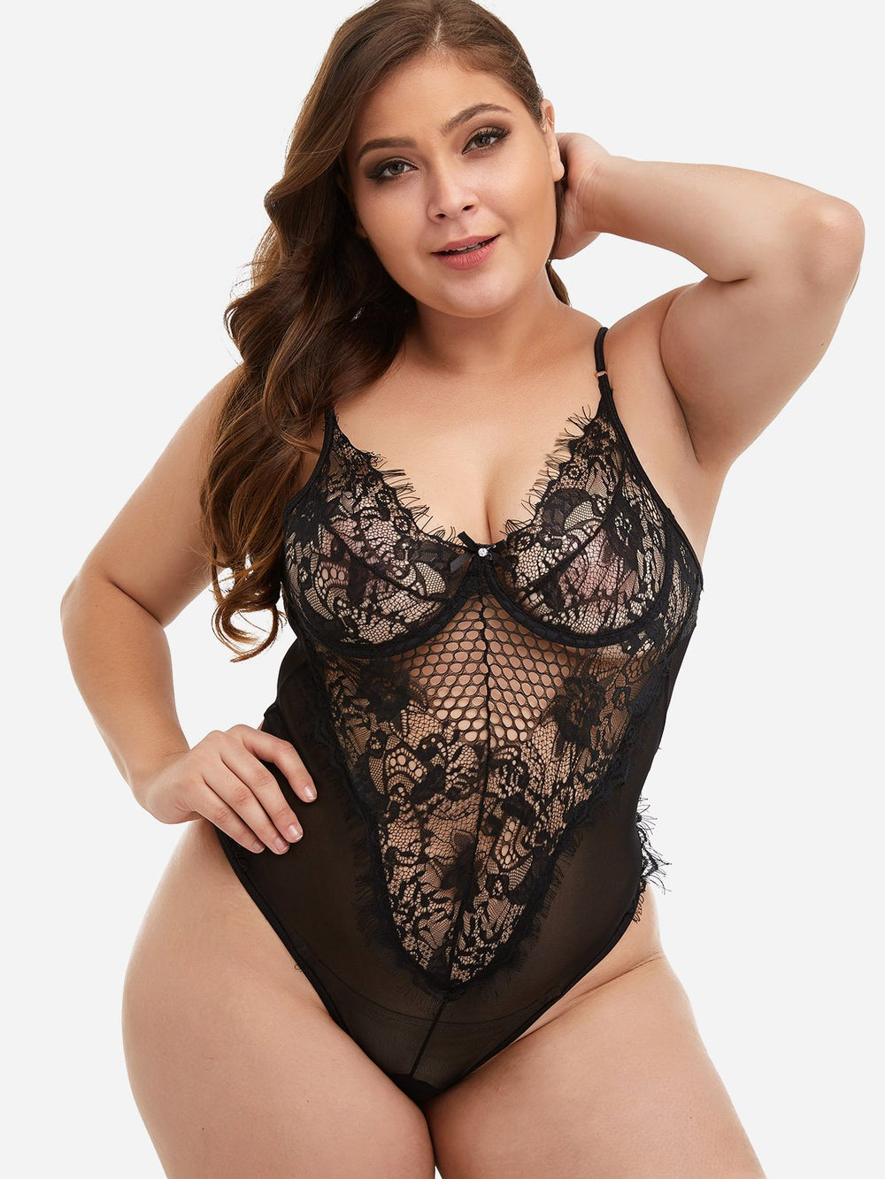 Plain Lace See Through Black Oversized Intimates