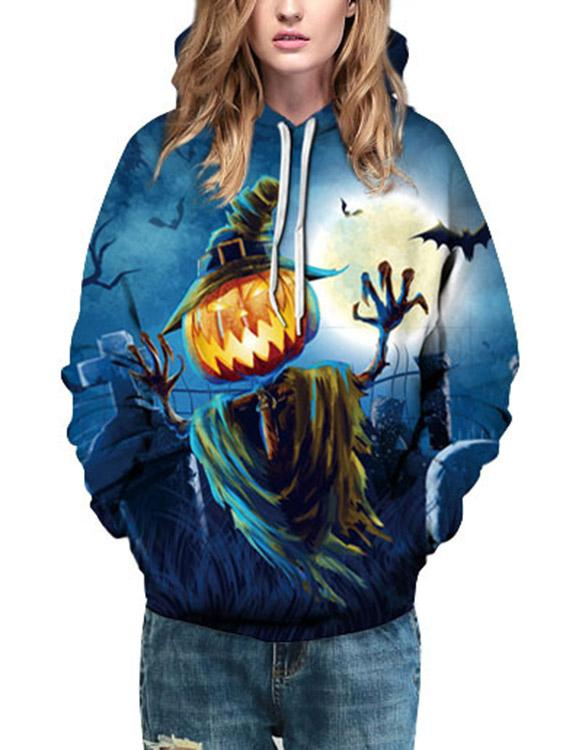 Round Neck Long Sleeve Printed Hooded Hoodies