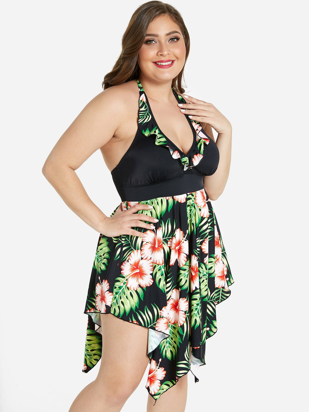 Womens Floral Print Plus Size Swimwear