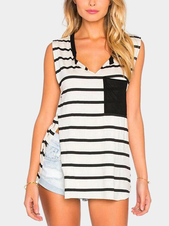 V-Neck Stripe Sleeveless Slit Hem Black Camis