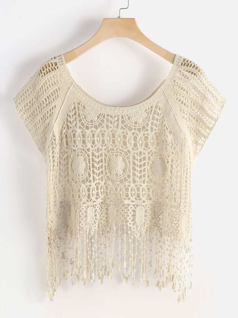 Round Neck Tiered Hollow Short Sleeve Beige Beachwear