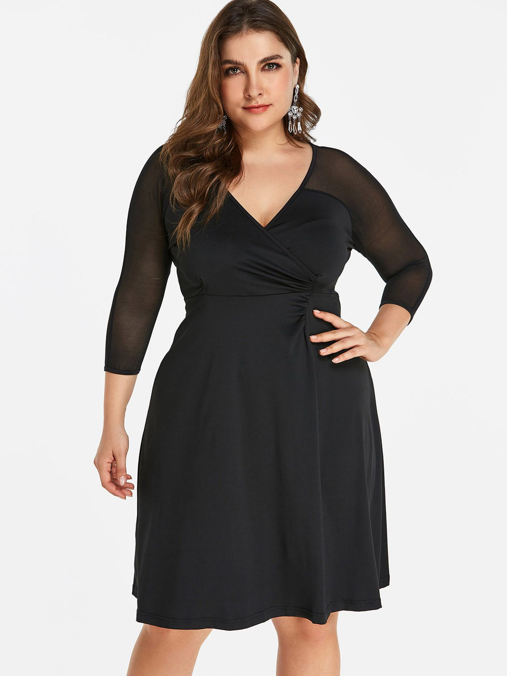 V-Neck Plain Wrap 3/4 Sleeve Black Plus Size Dress