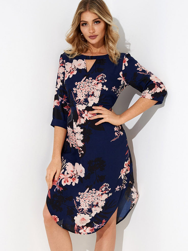 Navy Round Neck 3/4 Sleeve Length Floral Print Cut Out Curved Hem Dresses