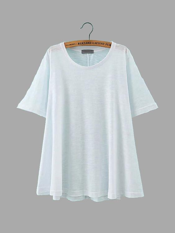 Round Neck Half Sleeve Slit Hem White T-Shirts