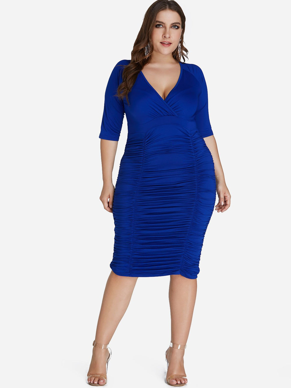 V-Neck Plain Wrap Half Sleeve Blue Plus Size Dress