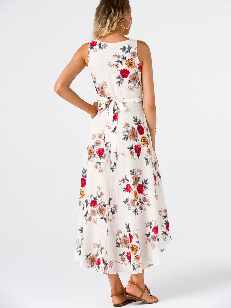 Womens White Floral Dresses